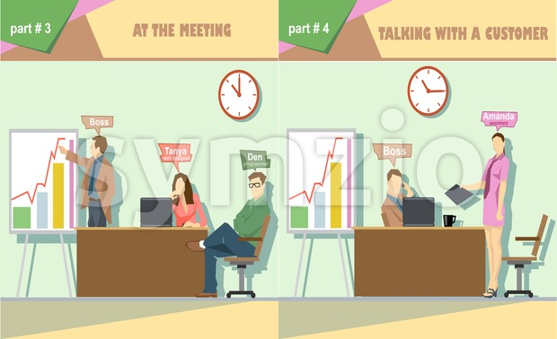 Digital vector company at the meeting and talking to a customer icon set, boss, secretary, web designer and programmer, flat style Stock Vector