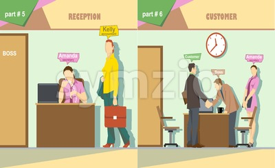 Digital vector company reception and talking to a customer icon set, boss, secretary and accountant, flat style Stock Vector