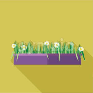 Digital vector green decorative camomile office plant with purple pot, flat style Stock Vector