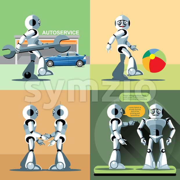 Digital vector silver happy robot set at autoservice, playing with ball, shaking hand and talking to another robot, flat style Stock Vector