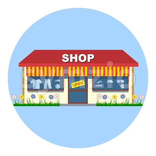 Digital vector shop storefront with open sign, red and yellow stripes, shoes and clothes, flowers, flat style