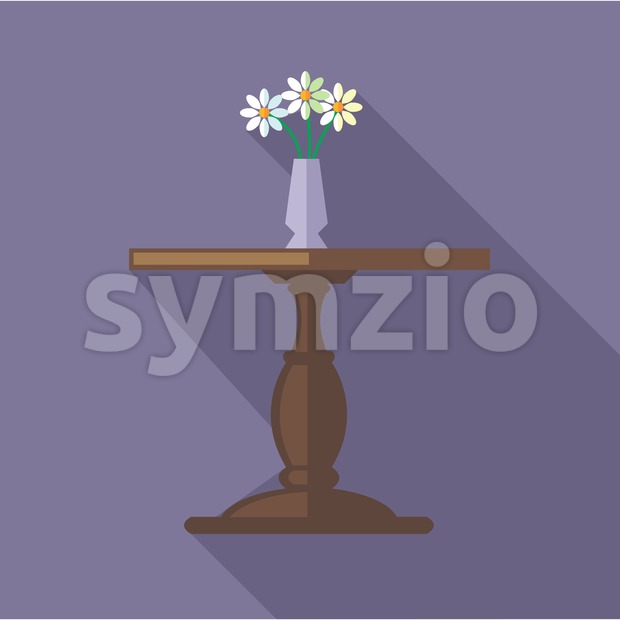Digital vector flowers in vase on a wooden table, over purple background, flat style Stock Vector
