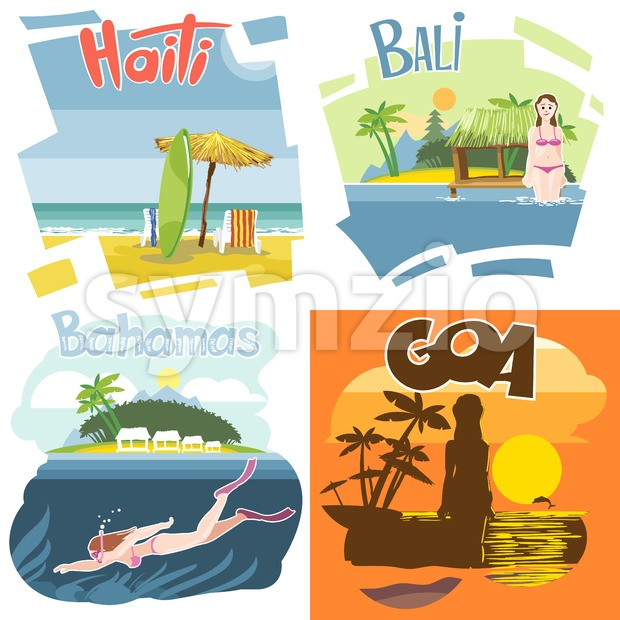 Digital vector touristic vacation destination set, Haiti, Bahamas, Bali and Goa, girl surfing and diving, sunset, flat style. Stock Vector