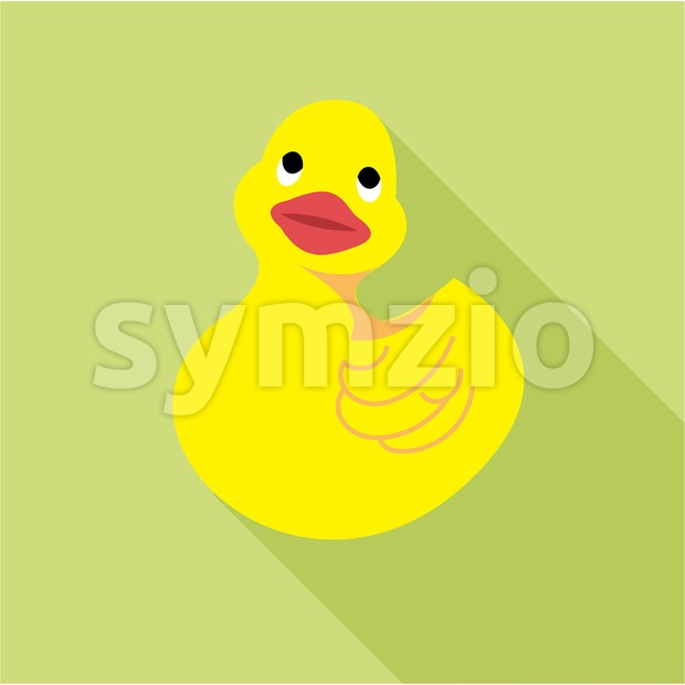 Digital vector duck toy, over green background, flat style Stock Vector
