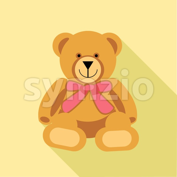 Digital vector bear toy with pink ribbon, over yellow background, flat style Stock Vector