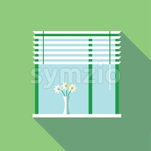 Digital vector flowers in vase on a window with venetian blind, over green background, flat style Stock Vector