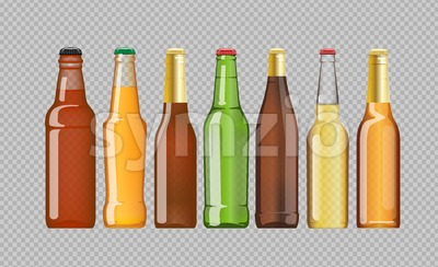 Digital vector beer mockup set, red, orange, brown, green bottle, realistic flat style, isolated and ready for your design and logo Stock Vector