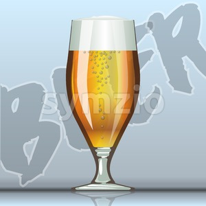 Digital vector glass of brown beer with bubbles mockup, realistic flat style, isolated and ready for your design and logo Stock Vector