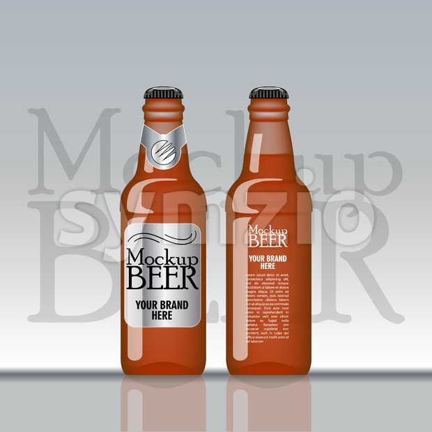 Digital vector brown beer mockup, silver and black bottle, realistic flat style, isolated and ready for your design and logo Stock Vector