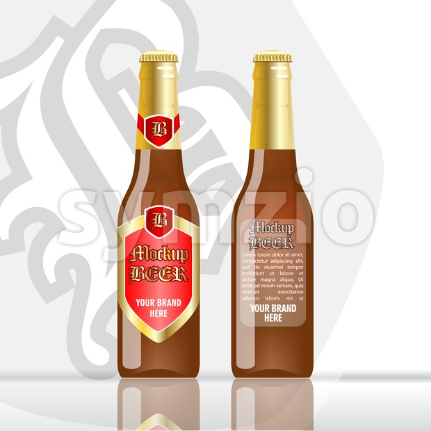 Digital vector brown beer mockup, red and golden bottle, realistic flat style, isolated and ready for your design and logo Stock Vector