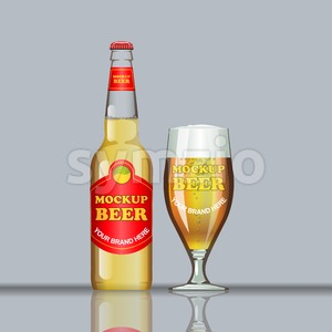 Digital vector glass of brown beer with bubbles mockup, red bottle, realistic flat style, isolated and ready for your design and logo Stock Vector
