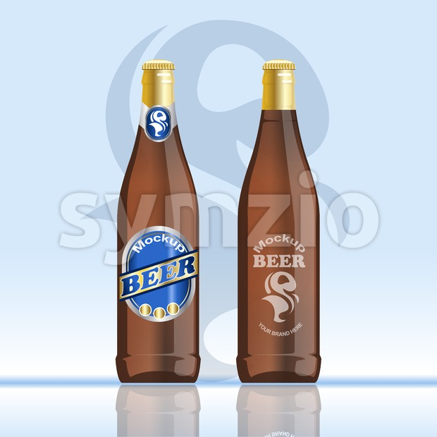 Digital vector brown beer mockup, blue and golden bottle, realistic flat style, isolated and ready for your design and logo Stock Vector