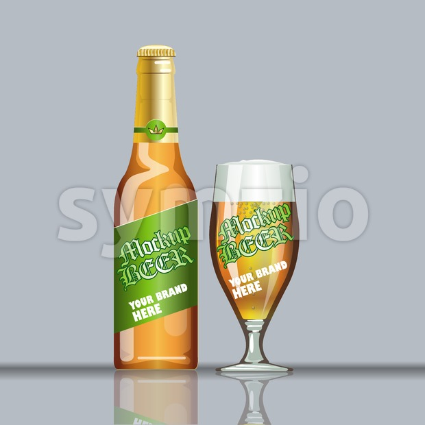 Digital vector glass of beer with foam and bubble mockup, green and brown bottle, realistic flat style, isolated and ready for your design and logo Stock Vector