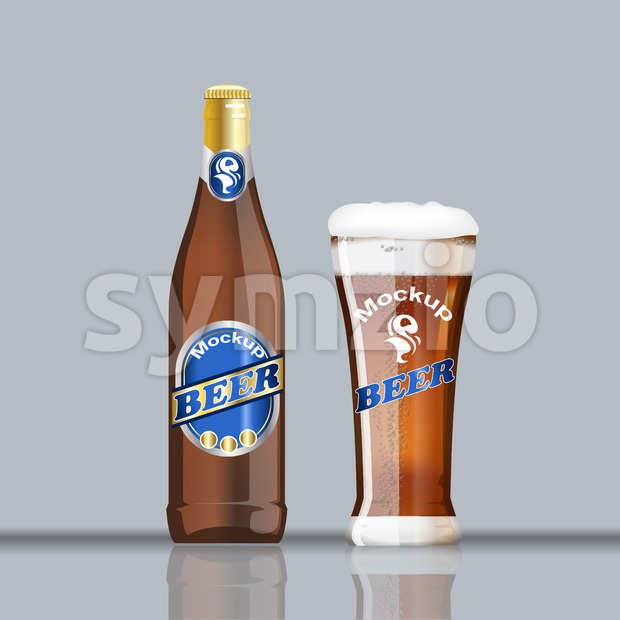Digital vector glass and bottle of brown beer with bubbles mockup, realistic flat style, isolated and ready for your design and logo Stock Vector