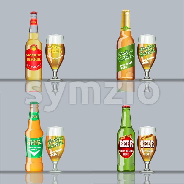 Digital vector beer set mockup, green and golden bottle, realistic flat style, isolated and ready for your design and logo Stock Vector