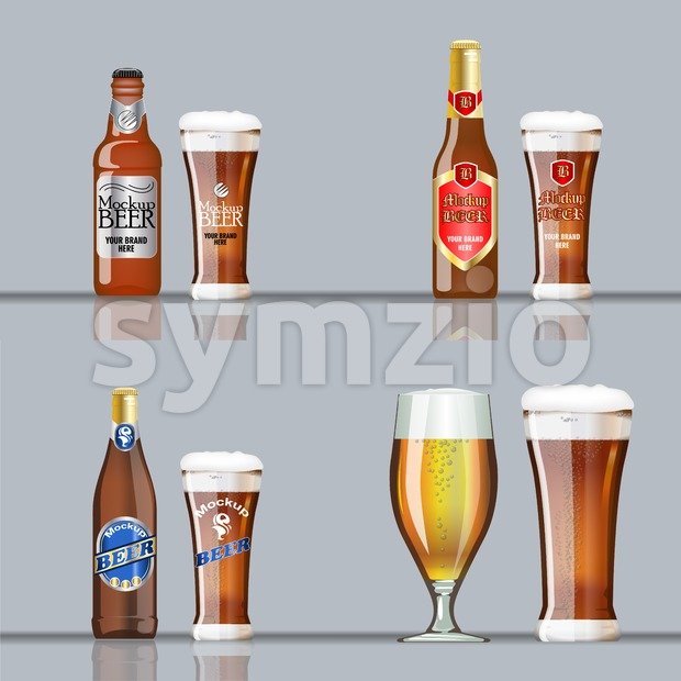 Digital vector brown beer set mockup, red and blue bottle, realistic flat style, isolated and ready for your design and logo Stock Vector