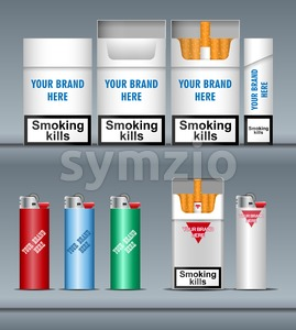 Digital vector silver cigarette pack mockup and lighter, front and lateral view, smoking kills, realistic flat style, isolated and ready for your Stock Vector