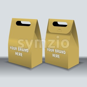 Digital vector recycle brown paper bags mockup, hand held, ready for your logo and design, flat style Stock Vector