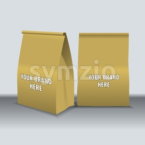 Digital vector recycle brown paper food bags mockup, ready for your logo and design, flat style Stock Vector