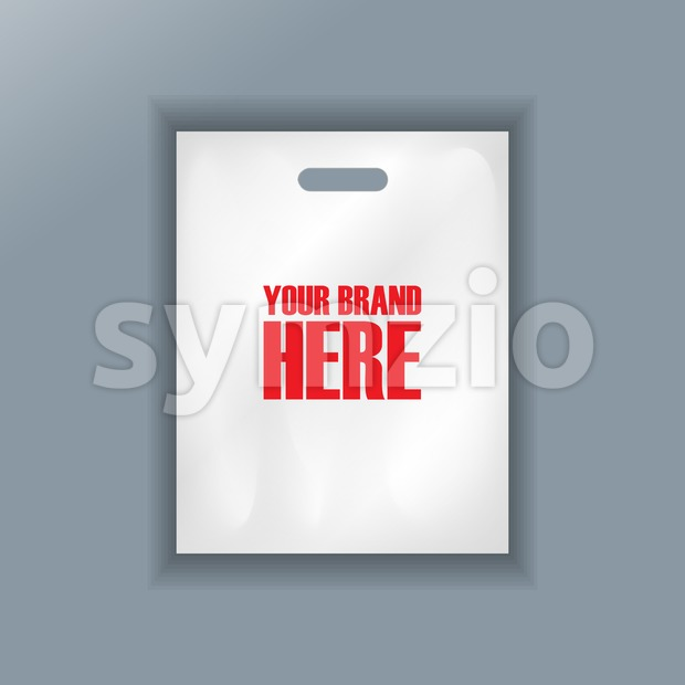 Digital vector cellophane bag plastic mockup, hand held, ready for your logo and design, flat style Stock Vector