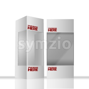 Digital vector silver transparent plastic and paper blank box mockup, ready for your logo and design, flat style Stock Vector