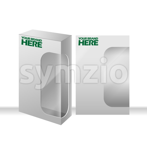 Digital vector silver transparent plastic blank box mockup, ready for your logo and design, flat style