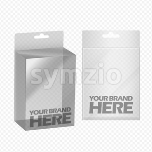 Digital vector silver transparent plastic blank box mockup, ready for your logo and design, flat style Stock Vector