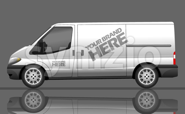 Digital vector silver and white realistic vehicle car bus mockup, ready for your logo and design, flat style Stock Vector