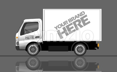Digital vector silver and white realistic vehicle truck car mockup, ready for your logo and design, flat style Stock Vector