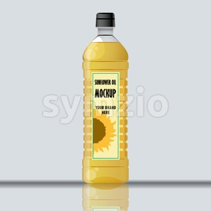 Digital vector yellow sunflower oil plastic bottle mockup, ready for your logo and design, flat style Stock Vector