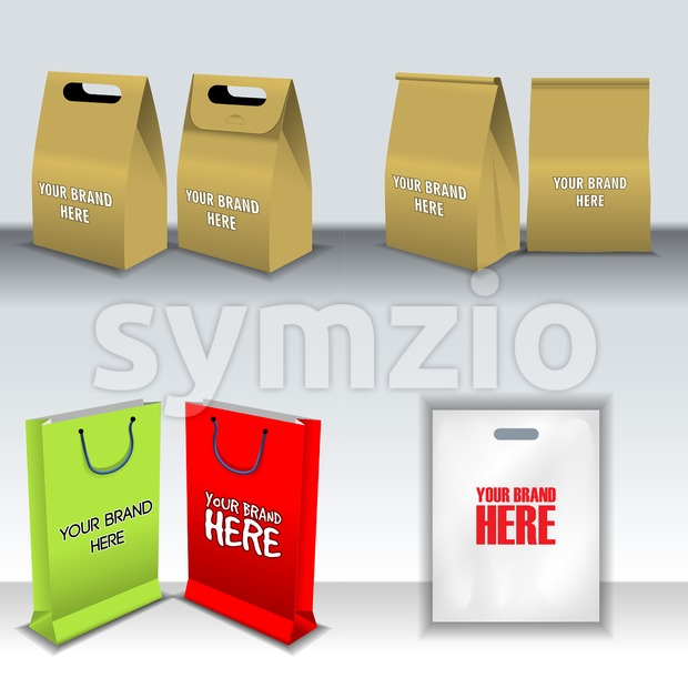 Digital vector recycle brown paper bags mockup, hand held, shoppig bag set, ready for your logo and design, flat style
