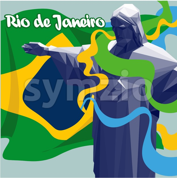Olympic rings Brasil 2016, country map in 3d and statue of Jesus. Digital vector image. Stock Vector