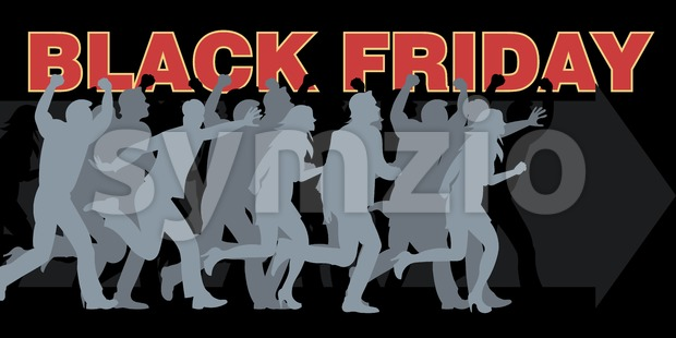 Digital vector black friday sale inscription design template with many people running.