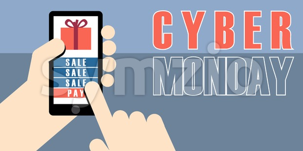 Digital vector cyber monday sale banner design with hands on mobile phone Stock Vector
