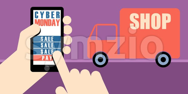 Digital vector cyber monday sale banner design with hands on mobile phone and a shop delivery truck Stock Vector