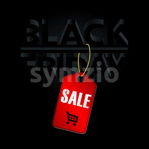 Digital vector black friday sale inscription design template with a red price tag. Stock Vector