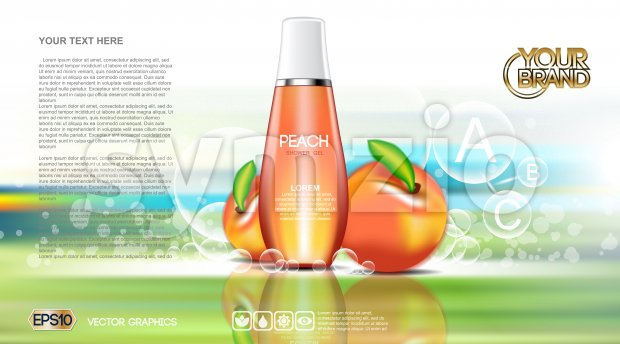 Digital vector red and orange shower gel cosmetic container mockup, your brand, ready for print ads or magazine design. Peach fruits and soap bubbles. Stock Vector