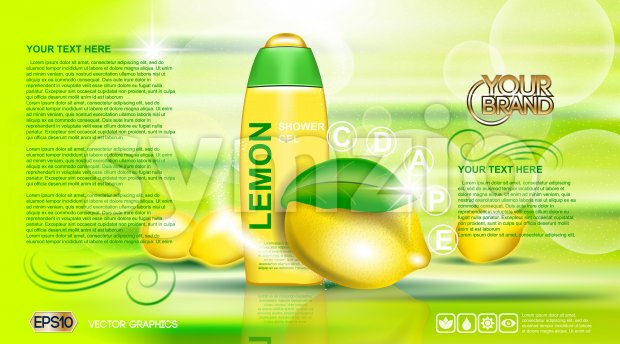 Digital vector yellow and green shower gel cosmetic container mockup, your brand, ready for print ads or magazine design. Lemon ...