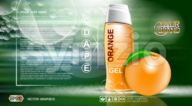 Digital vector orange and green shower gel cosmetic container mockup, your brand, ready for print ads or magazine design. Orange fruit and soap Stock Vector