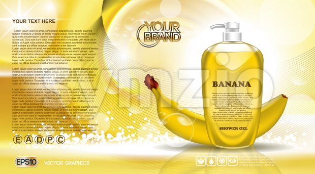 Digital vector yellow shower gel cosmetic container mockup, your brand, ready for print ads or magazine design. Banana fruit and ...