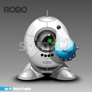Silver robo eyeborg projecting the planet earth in 3d, holding in hand. Big green and black eye and antenna, two feet. Digital vector image. Stock Vector