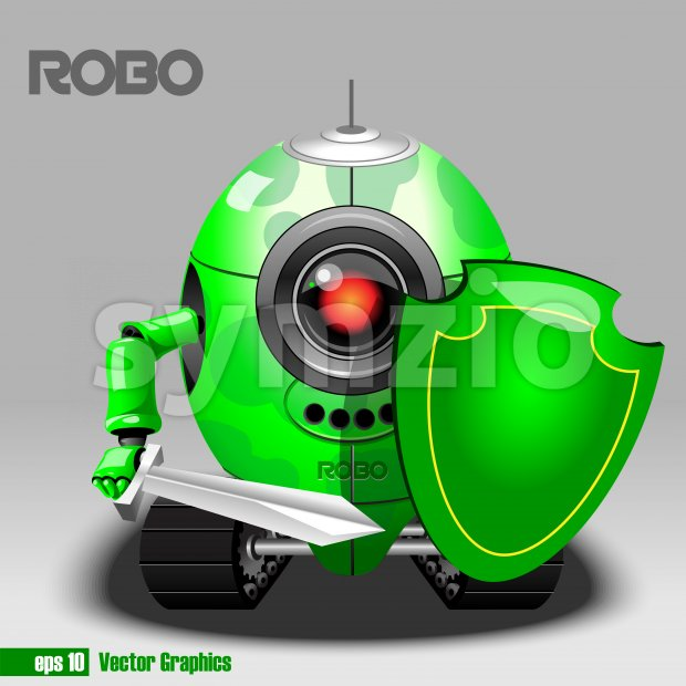 3d green robo eyeborg warrior with a sword and shield and moving as a tank. Big red and black eye and antenna. Digital vector image. Stock Vector