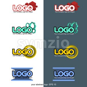 Abstract 3d logo set collection. Digital vector image. Stock Vector