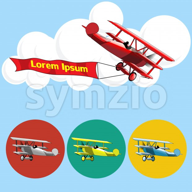 Old airplane model flying in the sky with clouds, silver, blue, red and yellow set collection over blue background. Digital ...