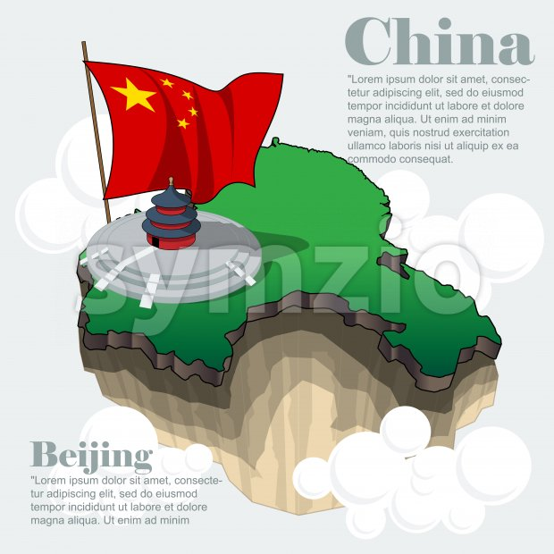 China country infographic map in 3d with country shape flying in the sky with clouds, the big flag and traditional ...