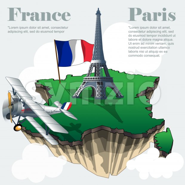 France country infographic map in 3d with country shape flying in the sky with clouds, big flag eiffel tower and a flying old airplane. Digital vector Stock Vector