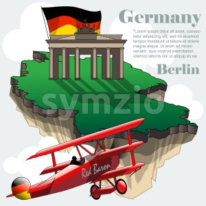 Germany country infographic map in 3d with country shape flying in the sky with clouds, big flag, brandenburg gate and a flying old red airplane. Stock Vector
