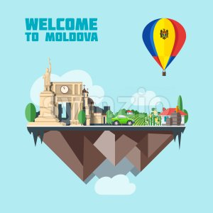 Moldova country infographic map in 3d with country shape flying in the sky with clouds, big flag in a colored balloon with landmarks. Digital vector Stock Vector