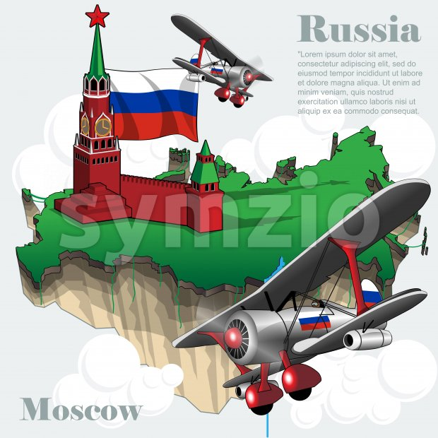 Russia country infographic map in 3d with country shape flying in the sky with clouds, flying airplanes, red star. Digital ...