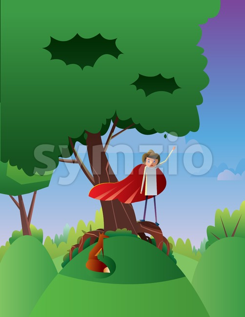 Digital vector abstract cartoony happy young boy on a big green tree, hand up in the air, over blue background with clouds, flat triangle style Stock Vector